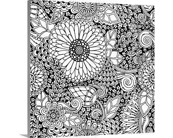 Diy Coloring Canvas Print Entitled Mosaic Squares I Etsy In 2020 Coloring Canvas Canvas Prints Wall Art Prints