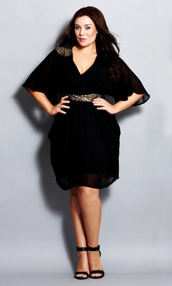 City Chic - COLOURED SEQUIN WRAP DRESS - Women&-39-s Plus Size Fashion ...