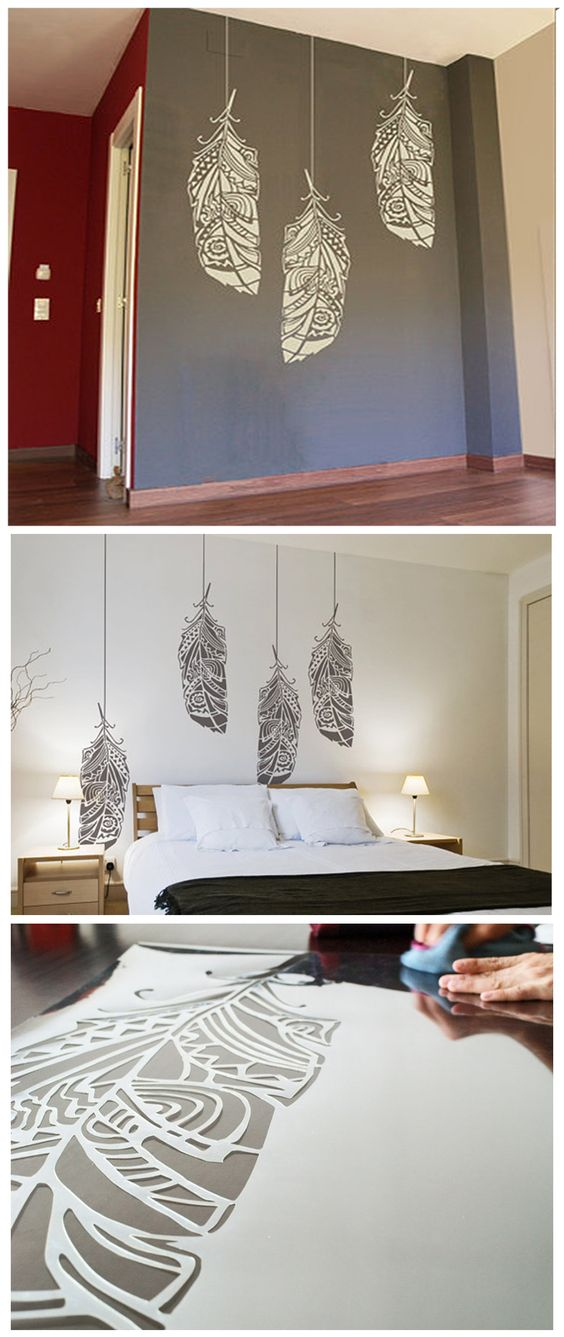 Forest feathers wall stencil decorative scandinavian - Wall decor painting ideas ...