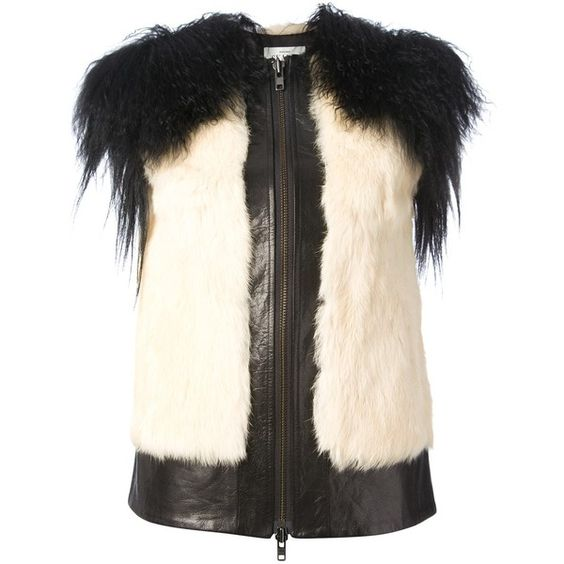 Skaist Taylor Short Sleeve Leather and Fur Jacket (270 KWD) ❤ liked on Polyvore featuring outerwear, jackets, vests, black, colorful leather jackets, skaist taylor, multi colored fur jacket, fur jacket and short sleeve leather jacket