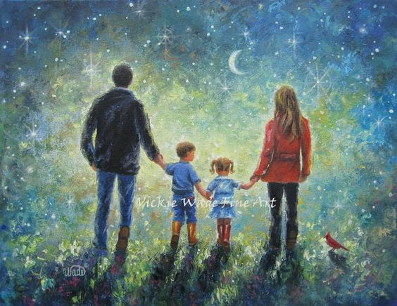 Mom Dad Son Daughter Art Print evening walk, father, mother, brother, little sister,boy, girl, starry night, blue, wall art, Vickie Wade $26