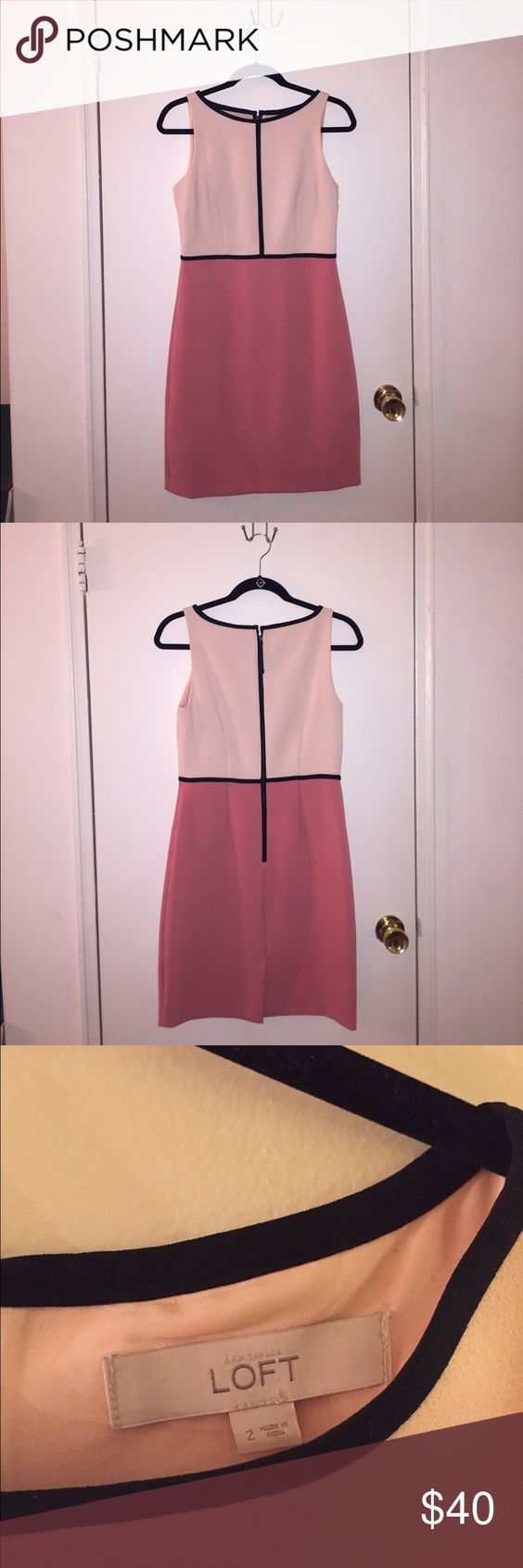 Ann Taylor LOFT color block salmon pink dress Worn once or twice! Color block salmon pink sleeveless dress. Comes to the knee and is a polyester rayon blend. Perfect for work or a wedding! LOFT Dresses
