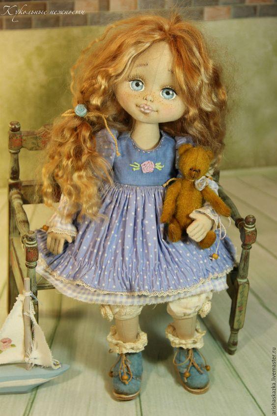 Купить Машенька . Кукла авторская . Кукла ручной работы. - голубой, зеленый, оранжевый, ярмарка мастеров: