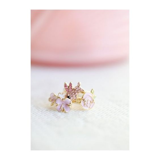Garden Burrow Ring Set In Pink found on Polyvore