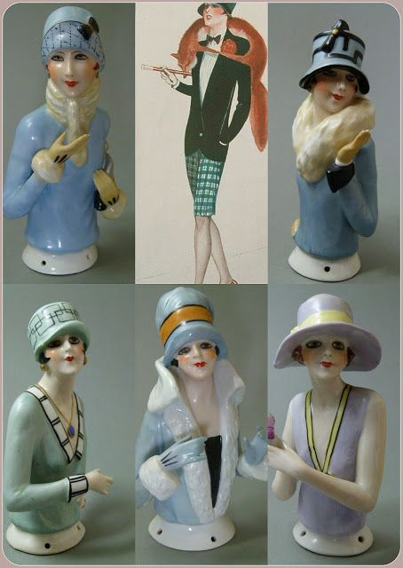 HALF DOLLS: ART DECO FASHION LADIES - HALF DOLLS BY FASOLD & S...