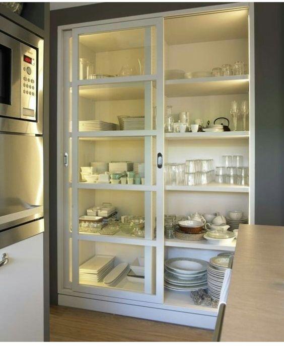 Vitrina de cocina con puertas correderas muebles hogar - Mueble puertas correderas ...