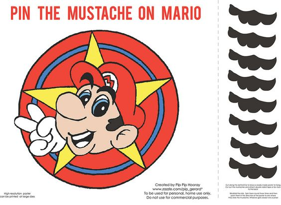 *NEW* Free Pin the Mustache on Mario Party Printable