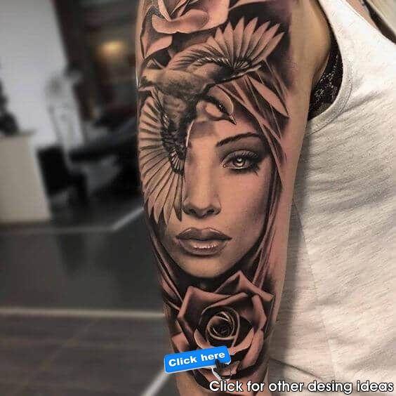 Tattoo Portrat Rauchender Mund Tattoo Armel