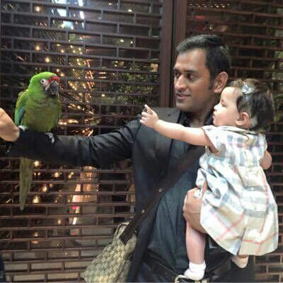 M.S. Dhoni with her daughter