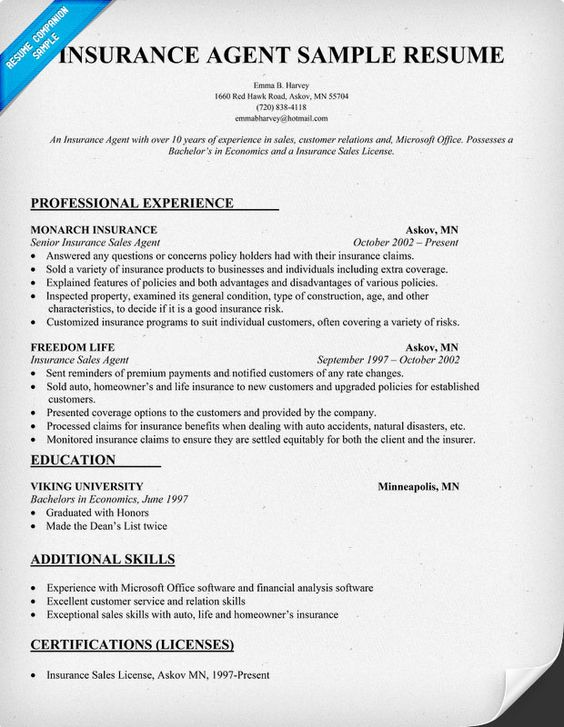 Insurance Agent Resume Sample Insurance internships Pinterest - life insurance agent sample resume