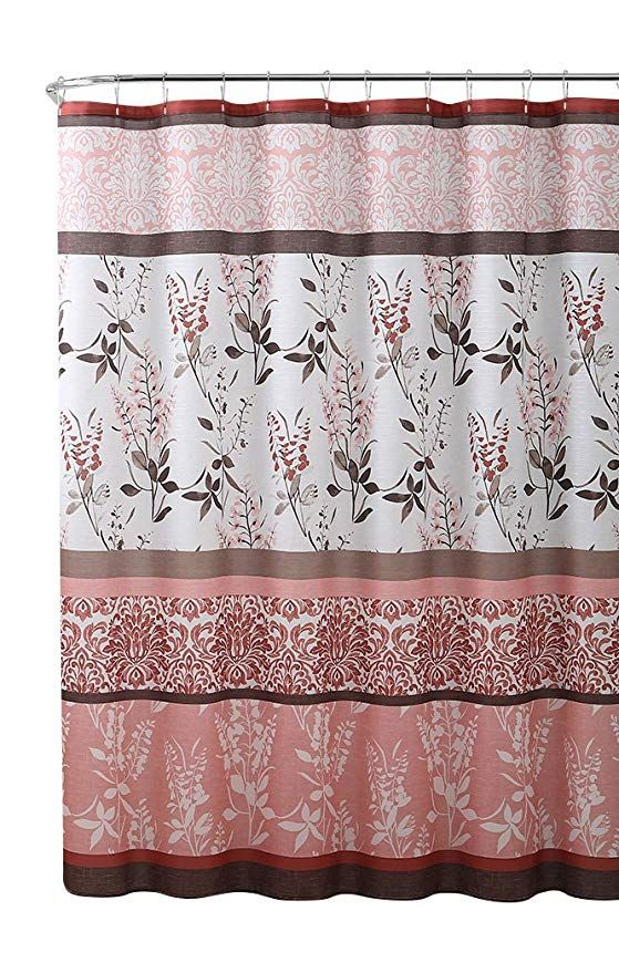 Vcny Home Pink Coral Fabric Shower Curtain Contemporary Floral Bordered Damask Design 72 By 72 Inches Coral Fabric Vcny Fabric Shower Curtains