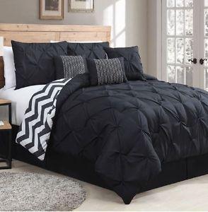 7 Piece Comforter Set Pinch Pleats Black, Reversible Black White Chevron