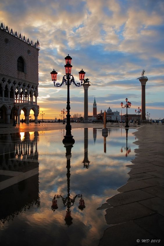 Venice, Italy - Those pink glass street lamps are one of my favorite details in Venice...
