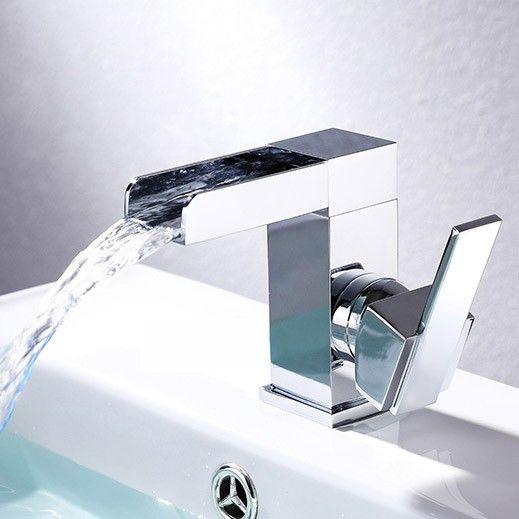 Mero Waterfall One Hole Bathroom Sink Faucet Chrome With Single