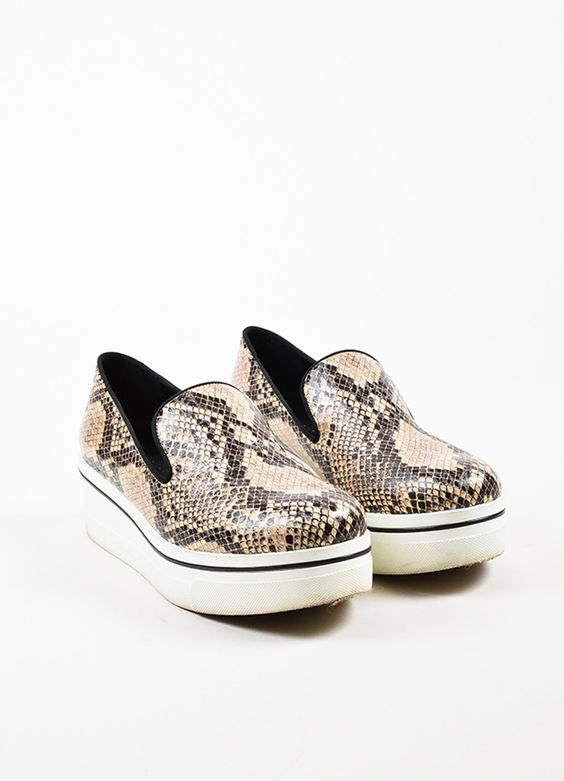 """Stella McCartney Beige and Black Python Embossed """"Binx"""" Platform Sneakers"""