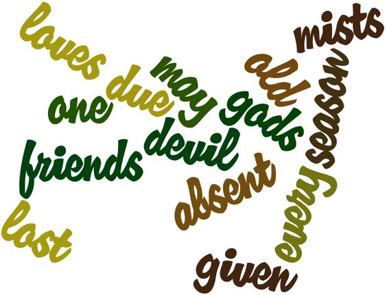 """To absent friends, lost loves, old gods, and the season of mists; and may each and every one of us given the devil his due."" - Neil Gaiman, The Sandman (created at wordle.net)"