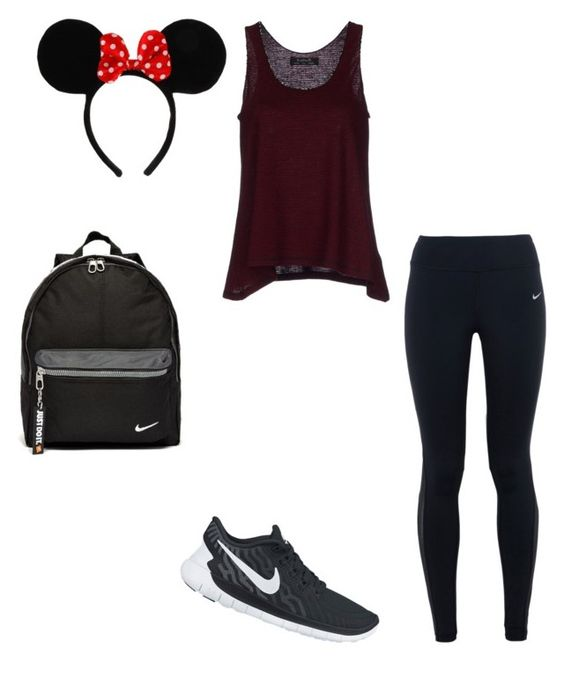 """""""Disneyland outfit"""" by clapp-kasey on Polyvore featuring NIKE, Kristina Ti, Disney, women's clothing, women's fashion, women, female, woman, misses and juniors"""