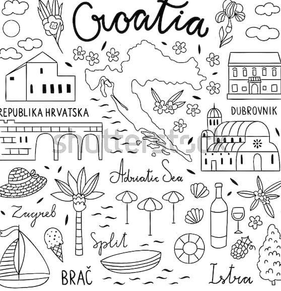 Trouvez Des Images De Stock De Croatia Doodle Illustration Visit Croatia Travel En Hd Et Des Millions Dautres Photos Travel Doodles Nature Symbols Travel Icon