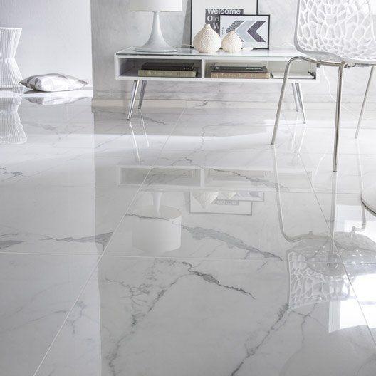 Carrelage sol et mur blanc effet marbre rimini l 60 x l 60 for Carrelage sol sdb