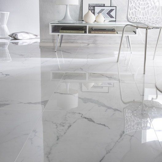 Carrelage sol et mur blanc effet marbre rimini l 60 x l 60 for Carrelage sdb blanc