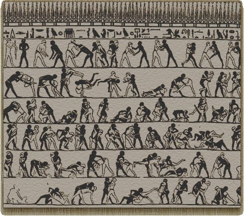 This is (above and below pictures) the oldest record of a Martial Arts system of training recorded. Dated pre 2,000 BCE Kemet (ancient Egypt).