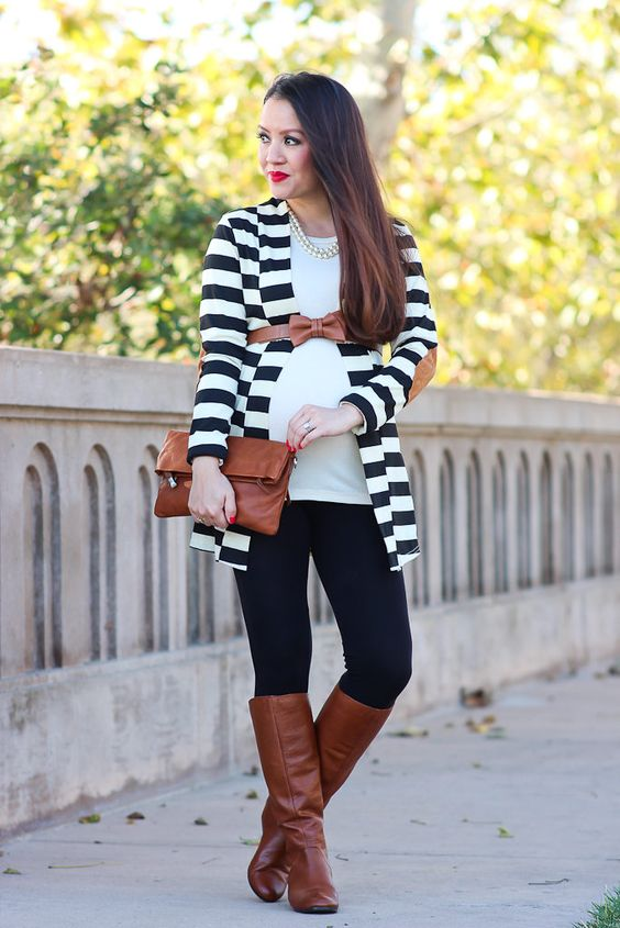 Striped Elbow Patch Cardigan 1: