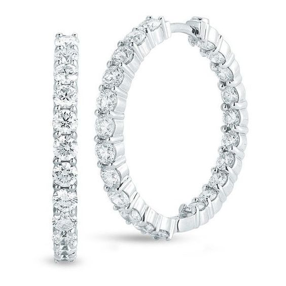 Roberto Coin White Gold Inside Out Diamond Hoop Earrings 3.45ctw ($8,900) ❤ liked on Polyvore featuring jewelry, earrings, white gold diamond earrings, roberto coin, diamond jewelry, earring jewelry and white gold jewellery