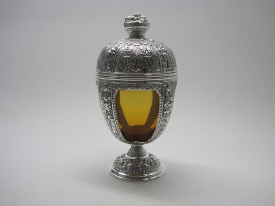 David Friedman Antiques · Silver & Amber Glass Covered Jar