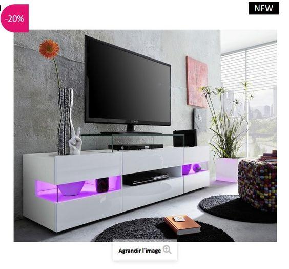 Banc TV design LED Maximilian ATYLIA pas cher prix promo Meuble TV Atylia 479,00…
