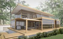 Prefab house / glue-laminated wood / contemporary / glass
