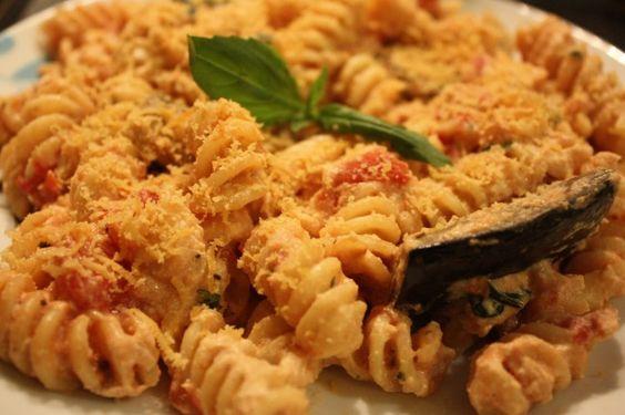 Creamy Aubergine (Eggplant) & Cashew Ricotta Pasta