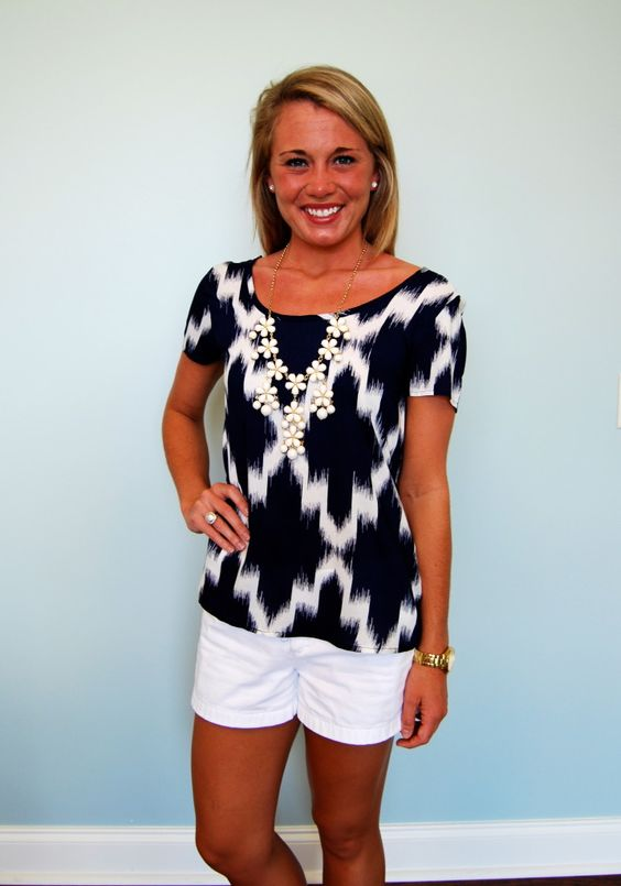 """Moroccan Nights  Great top for the summer!  Be sure to check out the back!  Our model is 5'3"""" and wearing a small,"""