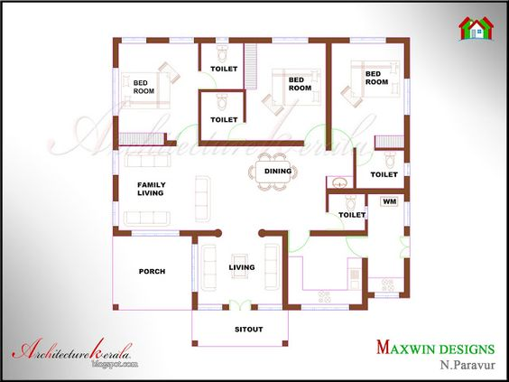 Architecture Kerala 3 BHK SINGLE FLOOR KERALA HOUSE PLAN AND