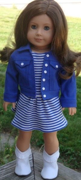 Drop-Waist Striped Dress And Jean Jacket by AngelKissesBoutique
