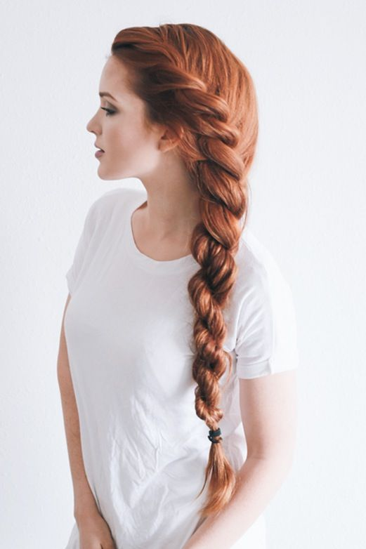 13 Red Hairstyles On Fire This Fall | Braided Rope Twist | Hairstyleonpoint.com