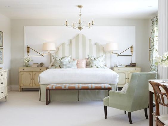 Designer Sarah Richardson used peach as an accent color in this traditional white-and-sage bedroom. (http://www.hgtv.com/on-tv/sarahs-suburban-house-new-home-classic-style/pictures/page-45.html?soc=Pinterest)