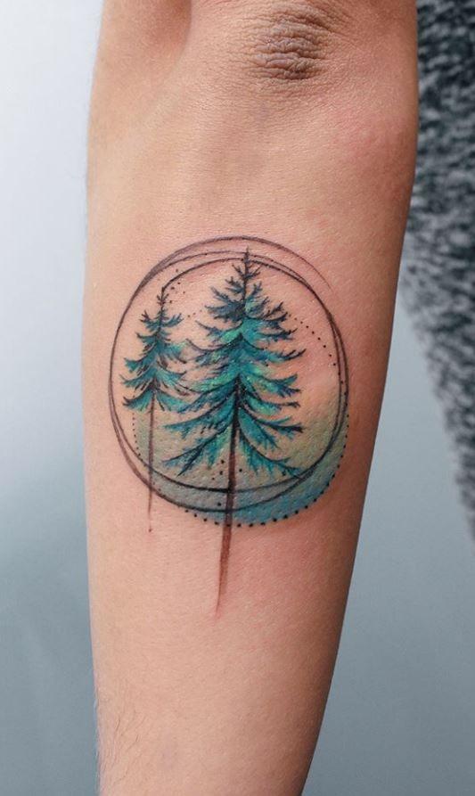Green Pine Tree Tattoo Watercolor Tattoo Tree Tattoos