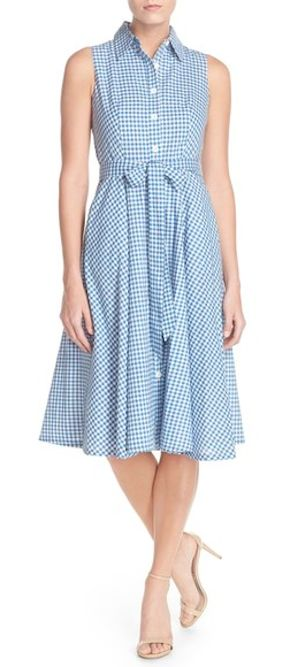 darling blue gingham shirtdress