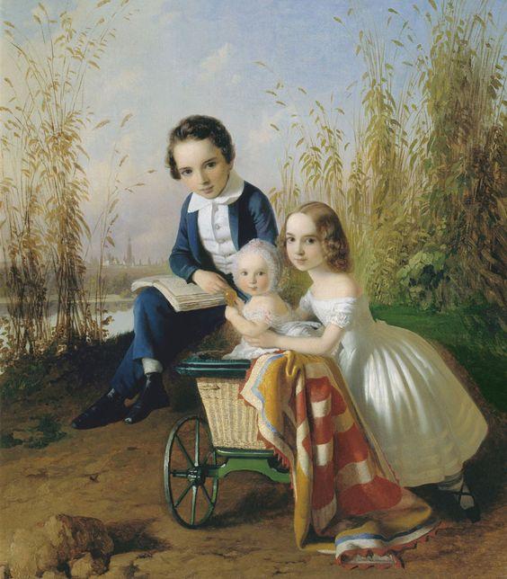 Carl Timoleon von Neff (1804-1877) — The Portrait of Children of Olsufyevs, 1842    (980×1120)