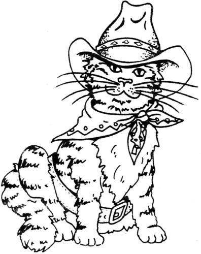 Unmounted Rubber Stamp, Western Stamps, Cowboy Cat, Cats, Southwestern Cat