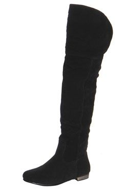Gia Black Suedette High Leg Wader Boots