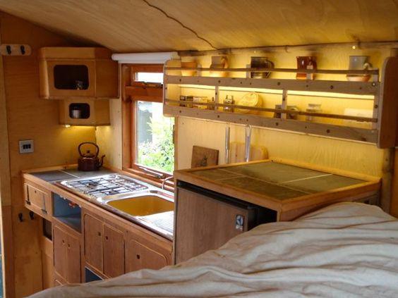 Handmade Matt's Truck Camper - interior / kitchen : tinyhouseblog 12/22/14 --- camper, but just love this little kitchen. ~cm