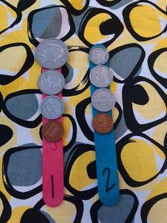 Math Center... Money sticks...kids pick a stick, count coins, and record.