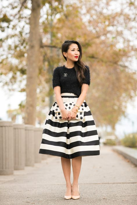 Fuzzy sweater and stripes modest black and white midi skirt | Follow Mode-sty for stylish modest clothing www.mode-sty.com #nolayering: