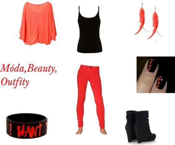 """red and black"" by kristyna-kikina-skalova ❤ liked on Polyvore"