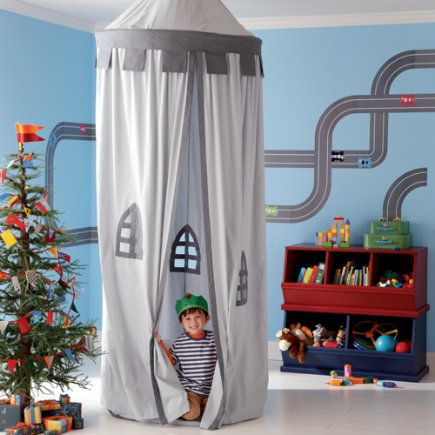 Fun fabric castle. Could be easily constructed with a hula hoop, some fabric and…: