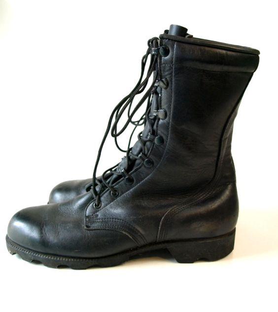 Vintage Ro-Search Black leather Military COMBAT grunge ...