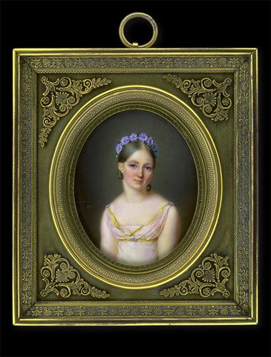 Aimée Zoé Lizinka de Mirbel, geborene Rue    Young Lady in White Dress with Blue Flower Garland    1818: