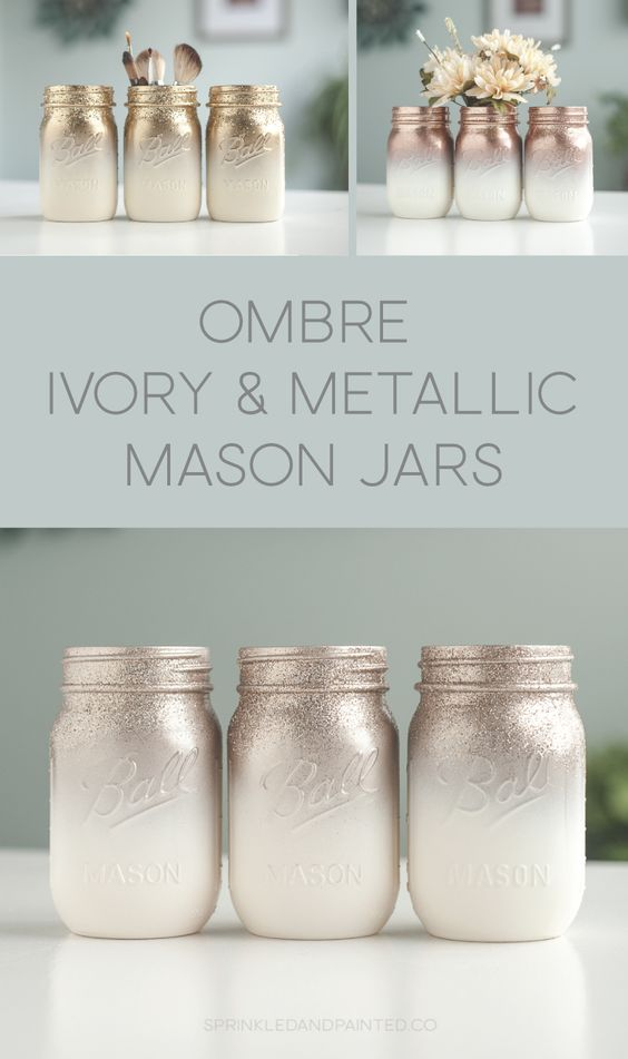 Metallic rose gold, gold, rose chrome and ivory mason jars ombre painted with a splash of glitter. #masonjars #rosegold #ombre
