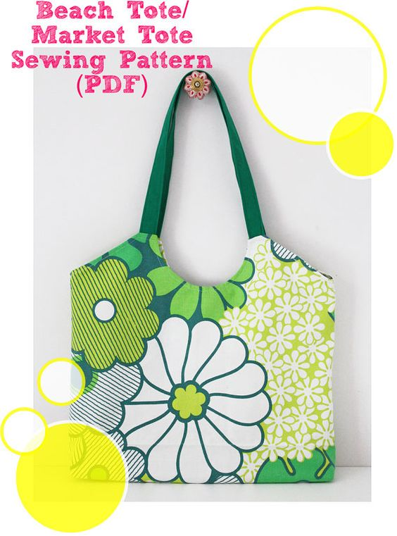 Market tote sewing pattern (PDF) instant download, bag sewing ...